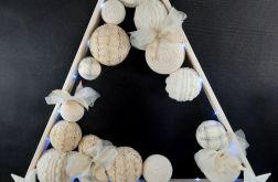 Drewniana choinka LED w bieli hand made