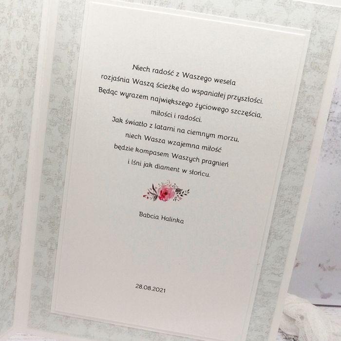 Kartka ślubna szara z różyczkami SLB 020 - kartka ślubna szara z różyczkami przód środek
