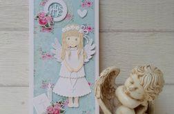 Kartka komunijna ze ślicznym aniołkiem *