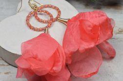 Długie kolczyki kwiaty, koralowe