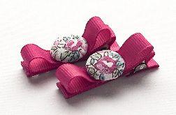 Spinki do włosów z guziczkiem CLARA rasp.rose