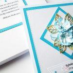 Kartka NA ŚLUB z niebieskimi kwiatami - Pamiątka ślubu z niebieskimi kwiatami