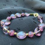 Bransoletka purple glass -
