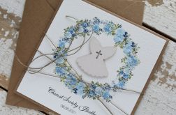 Kartka na chrzest z kopertą - życzenia i personalizacja 2h