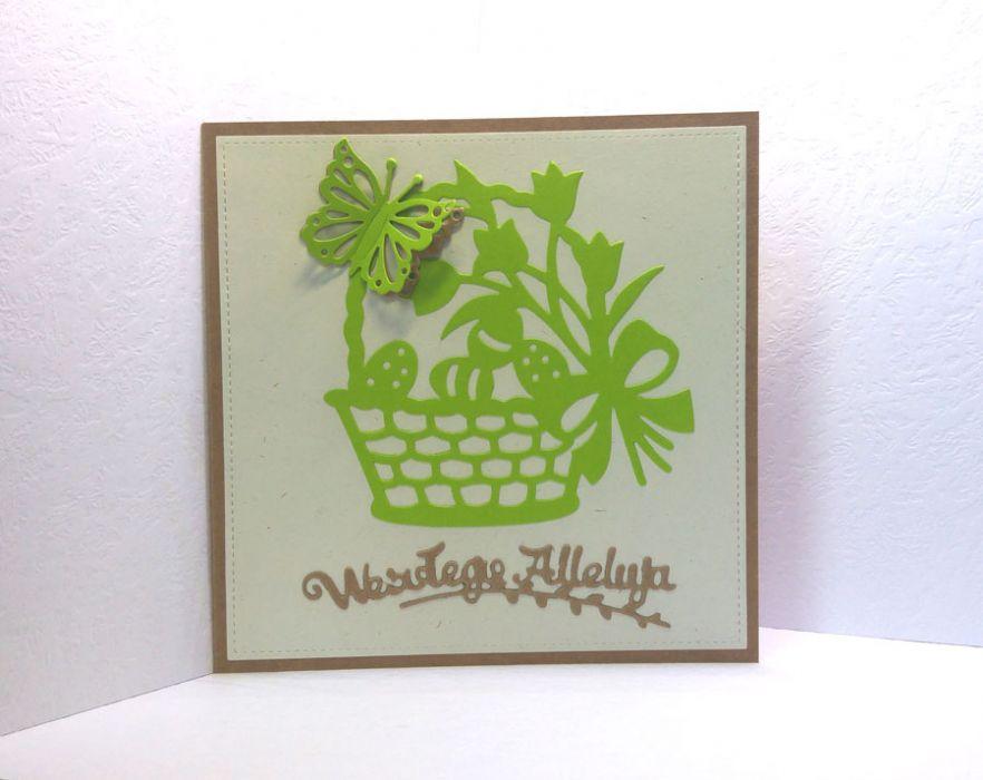 Kartka wielkanocna - zielony koszyczek nr 2