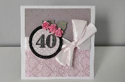 Kartka na urodziny róże z kokardą