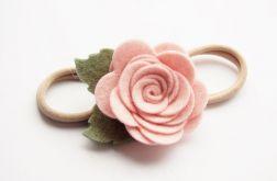 Opaska do włosów różyczka pudrowy róż