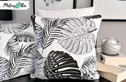 Dekoracyjna poduszka ~ czarno-biała Monstera