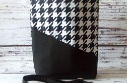 Duża czarno-biała torba w pepitkę