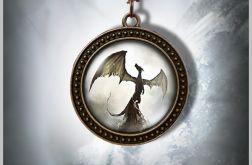 Naszyjnik, medalion - Smok cienia - antyczny brąz - zdobiony
