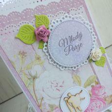 Kartka ślubna parawan w pudełku fiolet GOTOWA