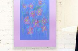 Rysunek kwiaty na fioletowym tle, szkic nr 17