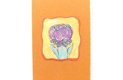 Kartka malowana z kwiatkiem  6
