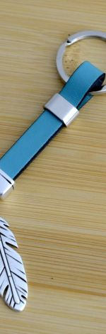 Unisex brelok skórzany pióro piórko