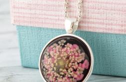Medalion z prawdziwym kwiatem - czarny