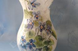 lampion-wazon szklany z fiołkami