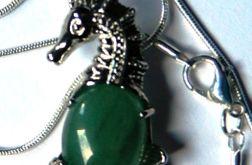 Konik morski, awenturyn zielony,uroczy wisior