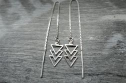 Srebrne Kolczyki na łańcuszku, srebro