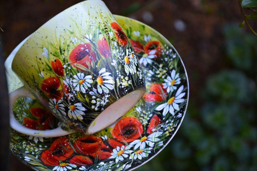 filżanka ze spodkiem-ręcznie malowana-  makowa polana -