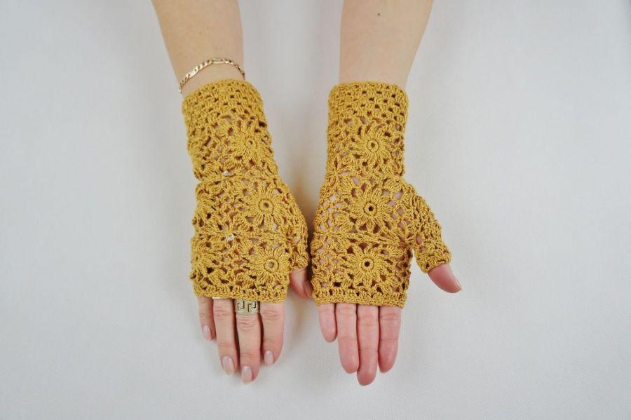 Mitenki  szydełkowe w kolorze złotej jesieni - rękawiczki miodowe