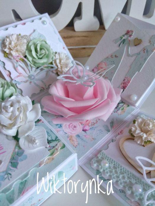 Exploding box, ślub, duża róża.