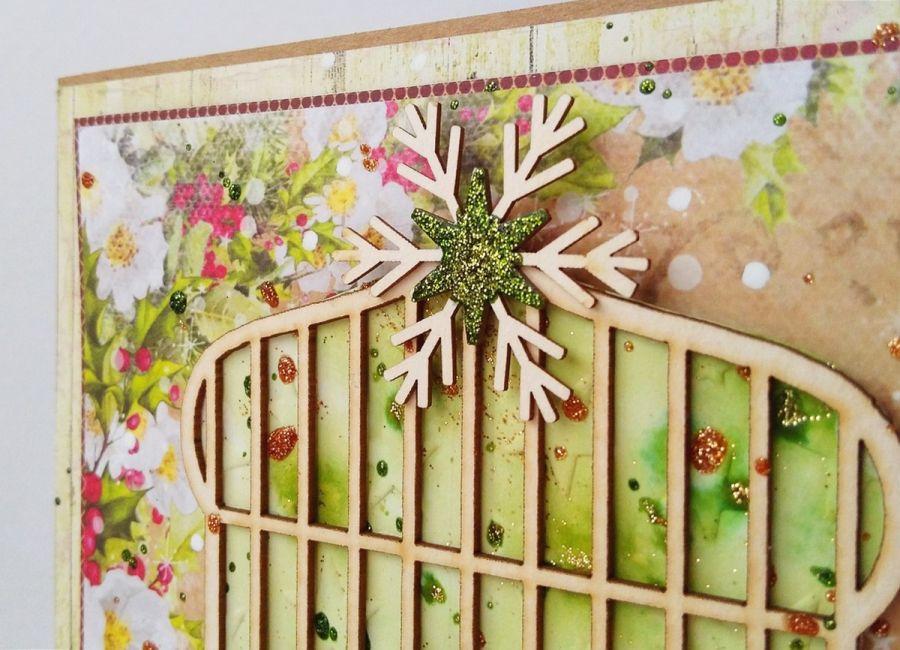 Kartka świąteczna z ptaszkami i klatką - Gwiazda na klatce z brokatem