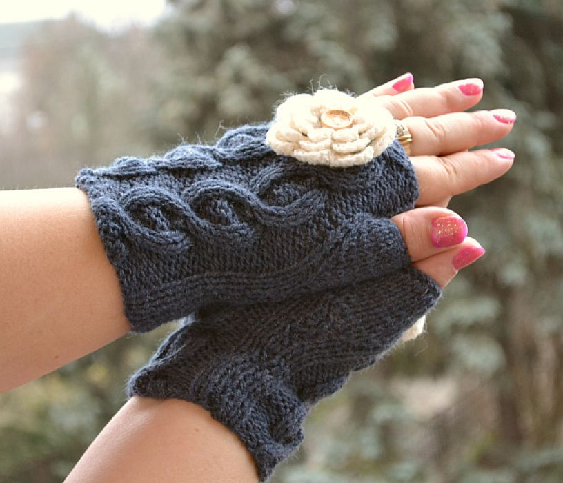 Szare rękawiczki mitenki  - krótkie