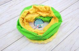 KOMIN szalik chusta - bawełna i Minky - zielony w białe kropeczki, żółty