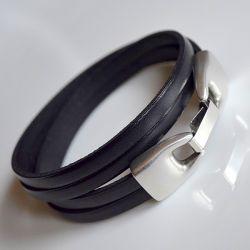 Bransoletka czarna skóra 2x5mm