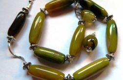 Żółto-zielone agaty, naszyjnik i kolczyki