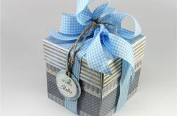Ślubny exploding box błękitna krateczka