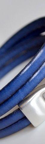 Bransoletka chabrowa skórzana 2x5mm