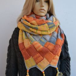 DUŻA Chusta entrelac w kolorach jesieni