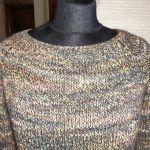 kolorowy luźny sweter bawełna i wełna s/m - zbliżenie przodu