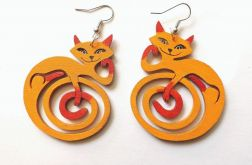 Kolczyki Kotki Zawinotki - pomarańczowe