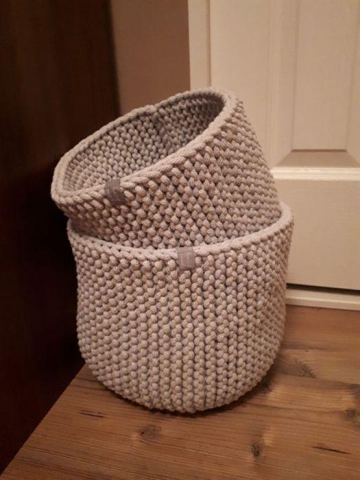 Koszyki ze sznurka, osłonki na doniczki 2 szt