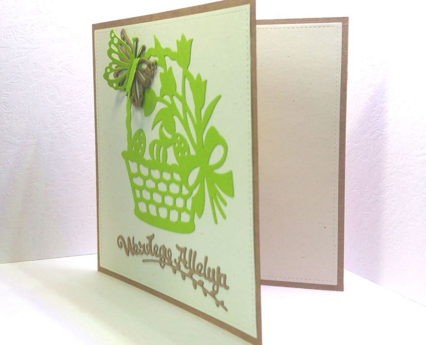 Kartka wielkanocna - zielony koszyczek nr 2 - kartka do samodzielnego wypisania