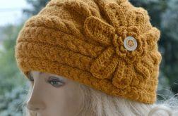 Komplet czapka i mitenki miodowe