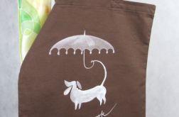 Brązowa torba Z Psem malowana ręcznie bawełna