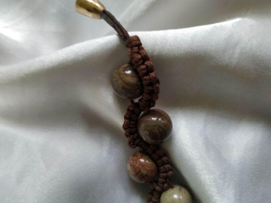 Bransoletka z naturalnego jaspisu,makrama - Idealna na prezent