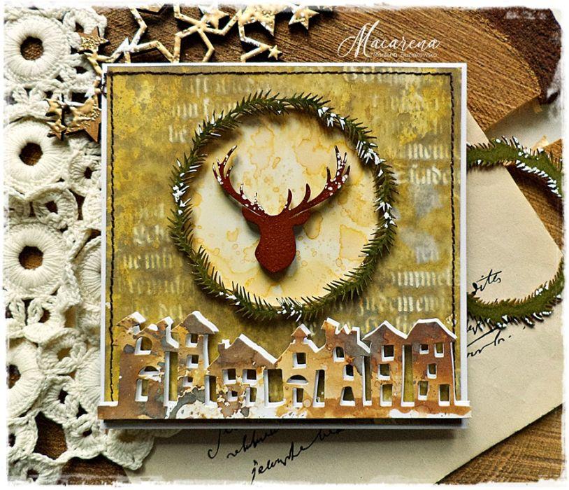 Śnieżne miasteczko - kartka bożonarodzeniowa
