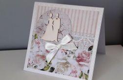Kartka ślubn na ślub para młoda kwiaty kwiaty