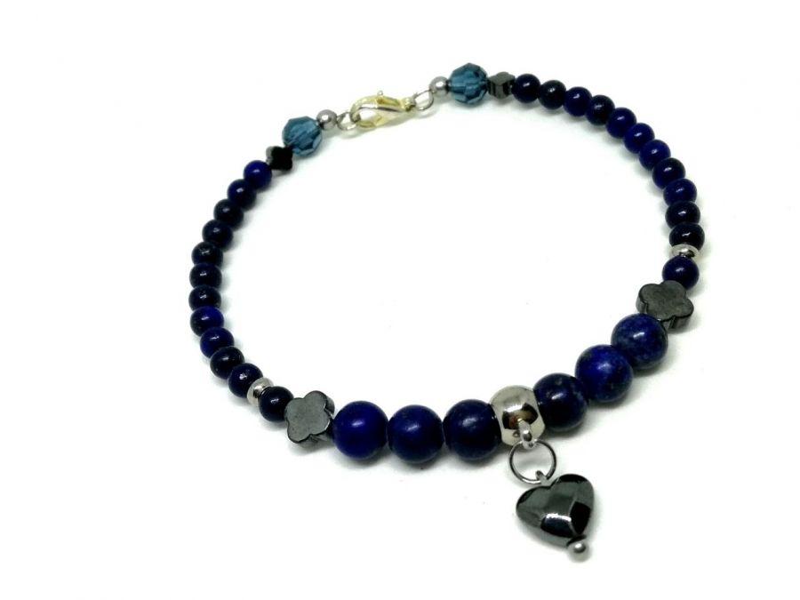 Lapis lazuli - bransoletka kamienie i stal