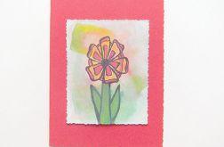 Kartka czerwona z kwiatkiem  13