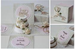 Pudełko ślubne rozkładane z tortem