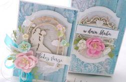 Błękitny ślub - kartka w pudełku