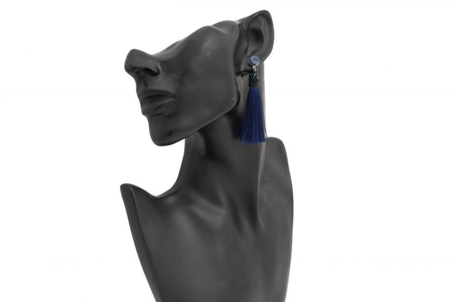 Kolczyki sztyfty chwosty z rivoli denim blue - Kolczyki sztyfty chwosty granatowe z kryształkami rivoli denim blue 4