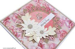 Kartka ślubna białe kwiaty i piwonie