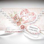 Łososiowa kopertówka ślubna z guziczkiem i tagiem