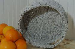 Koszyk okrągły, biały, wiklina papierowa super na prezent